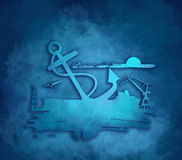 Cargo port relative icons set. Royalty Free Stock Photography