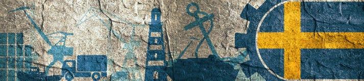 Cargo port relative icons set. Sweden flag in gear. Concrete textured illustration for web banner or header Stock Images