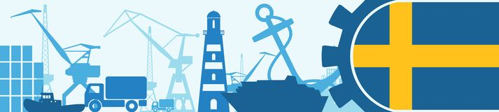 Cargo port relative icons set. Sweden flag in gear. Royalty Free Stock Photos