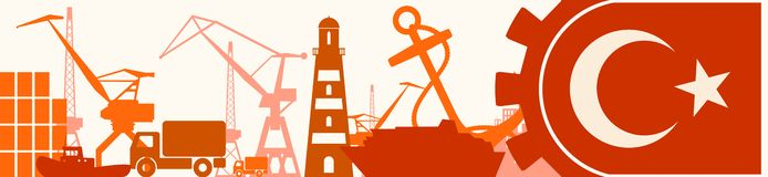 Cargo port relative icons set. Turkey flag in gear. Vector illustration for web banner or header Stock Photo
