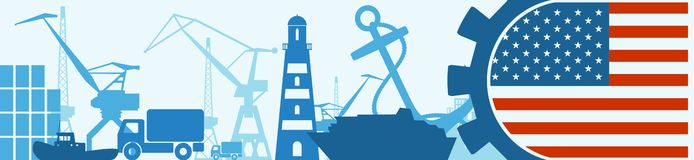 Cargo port relative icons set. USA flag in gear. Vector illustration for web banner or header Royalty Free Stock Image