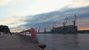Cargo port at seafront. River. Cranes. Containers. Summer. Men on roller skaters stock video