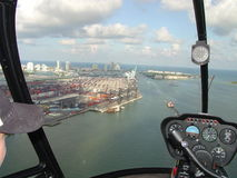 Cargo port from small helicopter. Miami Cargo Port from Small Helicopter Stock Photo