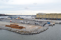 Cargo port in Stockholm. Royalty Free Stock Photography