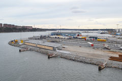 Cargo port in Stockholm. Stock Photo