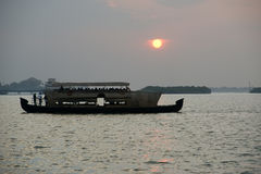Cargo port on a sunset, Cochin, Kerala, South India Stock Photography