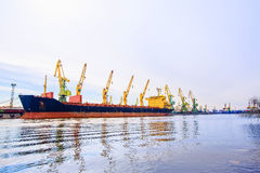 Cargo port. Tanker loading. Side view. stock photography