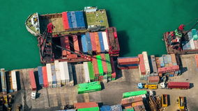 Cargo port terminal. Hong Kong. Time lapse, tilt shift stock video footage