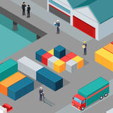 Cargo Port Vector Concept in Isometric Projection. Warehouse port vector concept. Isometric projection. Cargo containers on the berth at the port, managers Royalty Free Stock Images