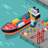 Cargo Port Vector Concept in Isometric Projection Royalty Free Stock Photo