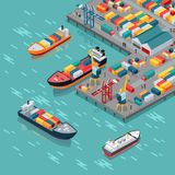 Cargo Port Vector Concept in Isometric Projection. Warehouse port vector concept. Isometric projection. Ships with containers on the berth at the port, cranes Royalty Free Stock Images