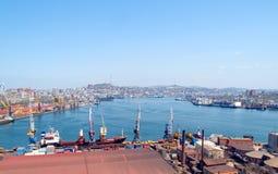 Cargo port Vladivostok. City view representing cargo port Vladivostok with container terminal and freight ships Stock Photo