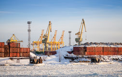 Cargo port in winter. Containers and cranes Stock Photography