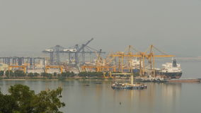 Cargo port in the work. Ha Long Bay. Vietnam. Shot in 4K - 3840x2160, 30fps stock video footage
