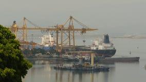 Cargo port in the work. Ha Long Bay. Vietnam. stock video