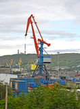 The cargo portal crane in Murmansk trade port Royalty Free Stock Image