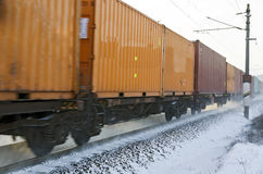 Cargo rail with container wagons Stock Photography