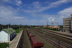 Cargo railway station. On a background of the dark blue sky Royalty Free Stock Photos