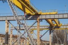 Railway lifting cranes. royalty free stock photo