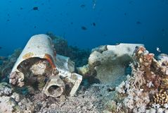 Cargo Remains Of A Shipwreck Underwater. Stock Images