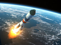 Cargo Rocket Takes Off Royalty Free Stock Photos