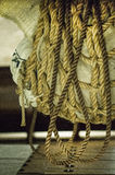 Cargo in the ropes on the ship. Cord Royalty Free Stock Photos