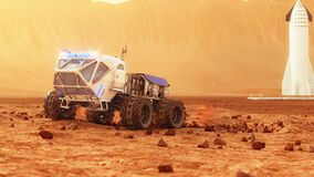 The cargo rover is moving on the surface of Mars. Starship in the background. 4K footage