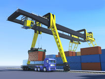 Cargo scene. Loading, unloading container on the truck on cargo station stock illustration