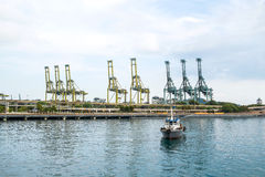 Cargo sea port with boat in Singapore Royalty Free Stock Image