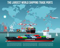 Cargo sea port with cargo freight ships & harbour port cranes also city, flying jet in the sky & world map on background infograph. Sea port with cargo freight Stock Photo