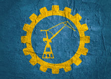 Cargo Sea Port Crane icon. In gear. Minimalistic sign on concrete textured background. Trendy Flat style for graphic design Stock Photos