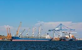 Cargo Sea Port with Cranes Stock Photo