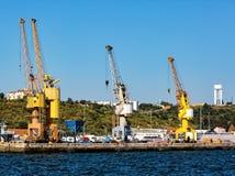 Cargo Sea Port with Cranes Stock Photography