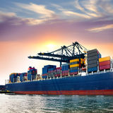 Cargo sea port. Sea cargo cranes. Stock Image