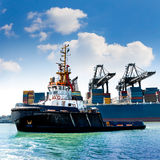 Cargo sea port. Sea cargo cranes. Stock Photos