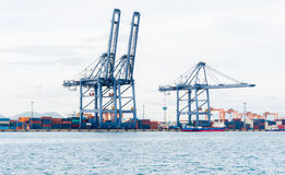 Cargo sea port and Sea cargo cranes Royalty Free Stock Images