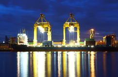 Cargo sea port. Sea cargo cranes Stock Photos