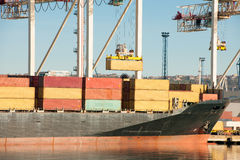 Cargo sea port. Sea cargo cranes. Sea. Royalty Free Stock Photos