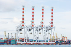 Cargo sea port and Sea cargo cranes Stock Photo