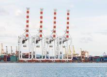 Cargo sea port and Sea cargo cranes Royalty Free Stock Photos