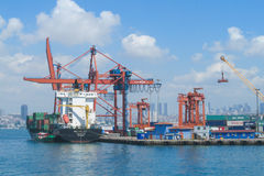 Cargo sea port and ships Royalty Free Stock Image