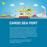 Cargo Sea Port, Unloading of  Containers from the Container Carrier, Cranes in  Load  Ship or Unload. Vector Stock Photos