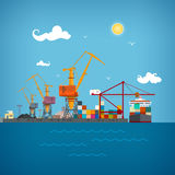 Cargo sea port , vector illustration Royalty Free Stock Image