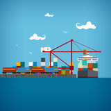 Cargo sea port , vector illustration Stock Photos
