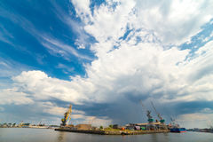 Cargo sea port wide angle view Royalty Free Stock Image