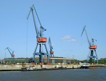 Cargo seaport. In the delta of Danube river, above Black sea royalty free stock photography