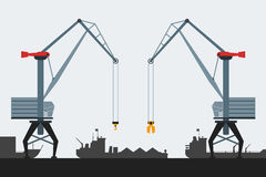 Cargo seaport with cranes and ships. Modern flat design style. Simple vector icons. Stock Photography