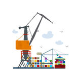 Cargo Seaport Isolated on White. Unloading Containers from a Cargo Ship in a Docks with Cargo Crane, Container Ship at the Dock, International Freight Stock Image