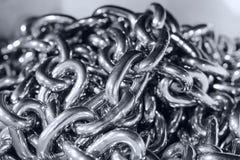 Cargo shiny steel chain. Royalty Free Stock Photo