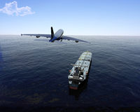 The cargo ship. And plane on a background of the sea Stock Photography